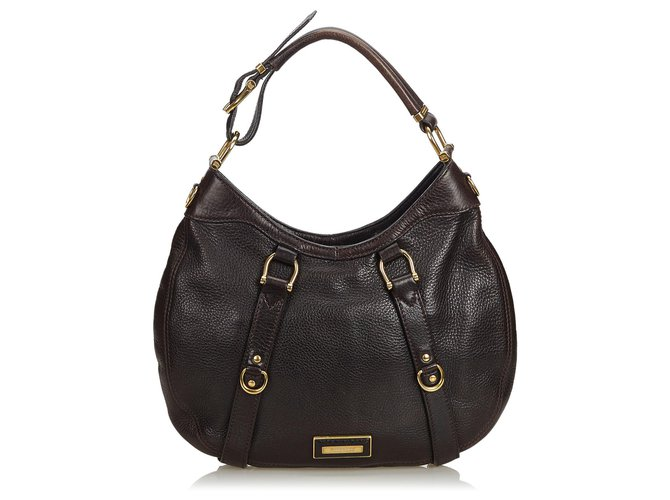 1d4878041 Burberry Burberry Black Leather Hobo Bag Handbags Leather,Other Black  ref.123334