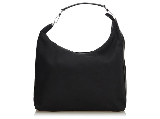 07c5cb88a84f Gucci Gucci Black Nylon Hobo Bag Handbags Leather,Other,Nylon,Cloth Black  ref