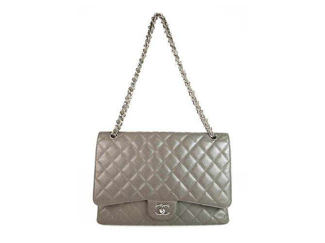 7087b6ec6605 Chanel CHANEL Grey Caviar Leather Maxi Classic Single Flap Bag Handbags  Leather Grey ref.123408