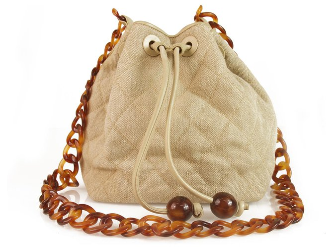 d942bd5f7b0a Chanel Chanel Vintage Beige Linen & Leather Drawstring Crossbody Bag w. Tortoise  chain Handbags Linen