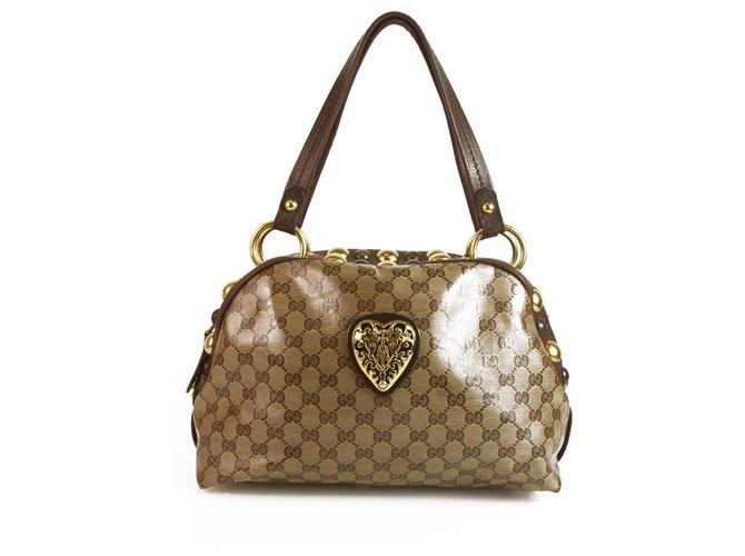 c9e94df60b80 Gucci GUCCI GG Guccissima Beige/Ebony Crystal Canvas Medium Babouska Dome  Bag Handbags Other Brown