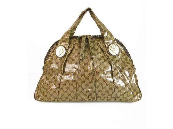 f7130538032d Gucci GUCCI GG Monogram Beige/Ebony Crystal Canvas Large Babouska Dome  Pleated Bag Handbags Other