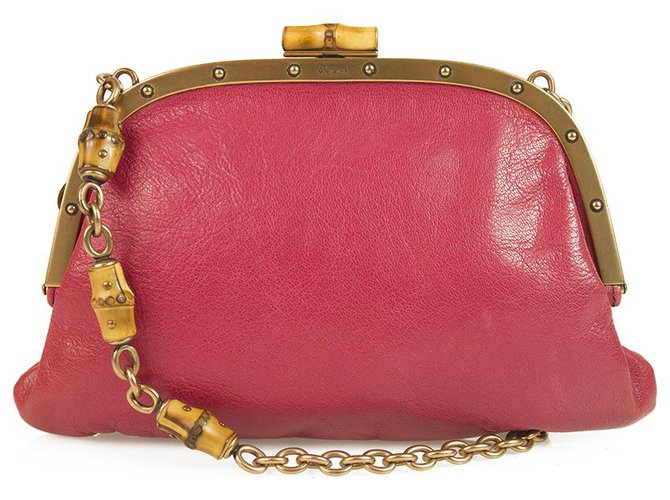 b9090c128daa39 Gucci GUCCI Pink Leather Bamboo and Chain Handle Bamboo Lock Frame Bag  Handbag Handbags Leather Fuschia