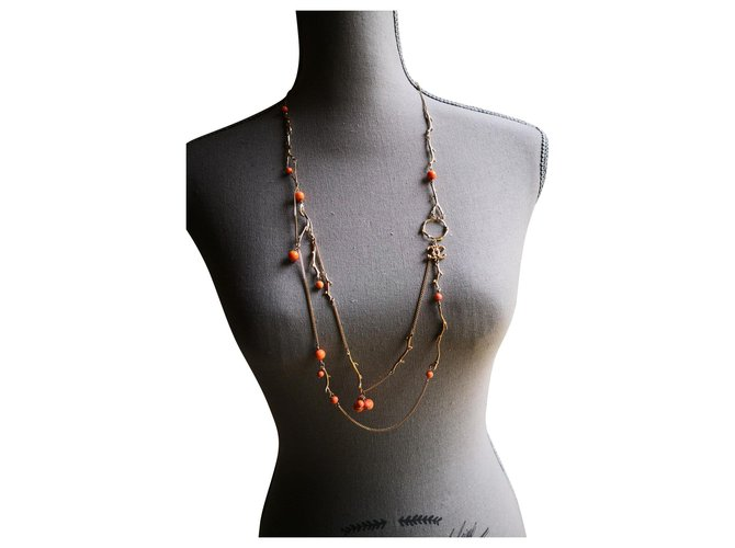 Chanel Long necklaces Pink Golden Metal  ref.123455