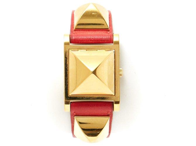 Hermès MEDOR GOLDEN BRAISE Red Leather Steel Gold-plated  ref.123461