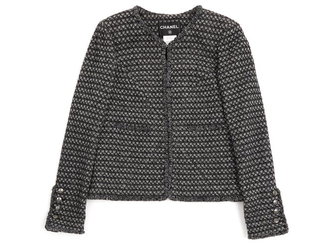 Chanel BLACK GRAY FR40 Jackets Wool,Angora Black,Silvery,Dark grey ref.123463