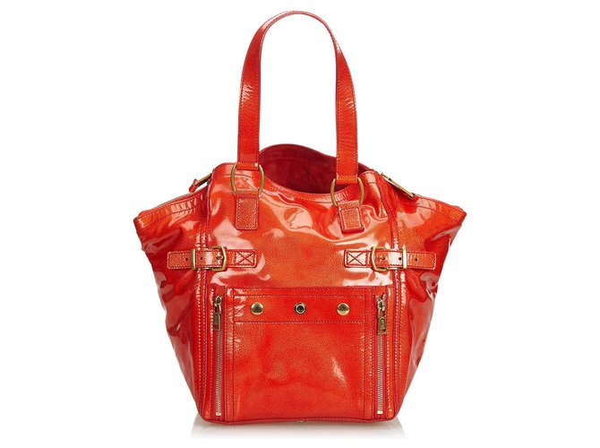 f901a8b30 Yves Saint Laurent YSL Red Patent Leather Downtown Tote Totes Leather,Patent  leather Red ref