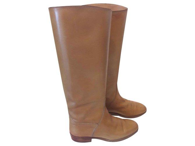 Hermès Cavalieres Boots Leather Caramel ref.123570