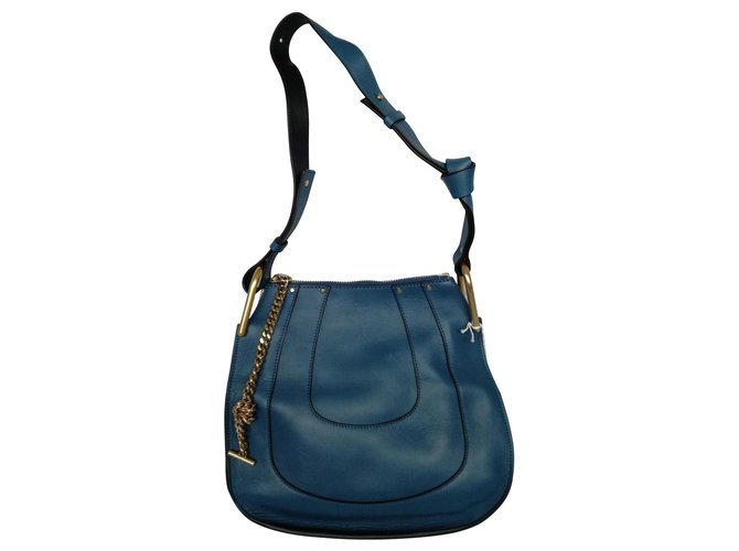 Chloé Chloé bag HAYLEY HOBO Handbags Leather Blue,Navy blue,Dark blue ref.123631