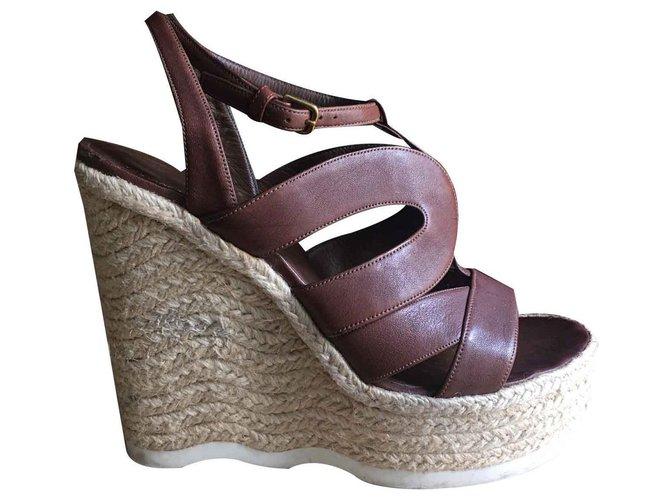 d7f855567 Yves Saint Laurent beautiful Yves Saint Laurent wedge sandals, Excellent  état Sandals Leather Caramel ref