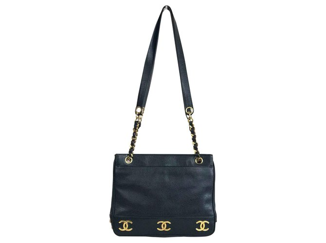 24f6e01e48a7 Chanel Chanel bag in Caviar leather and golden markings Handbags Leather  Black ref.123689