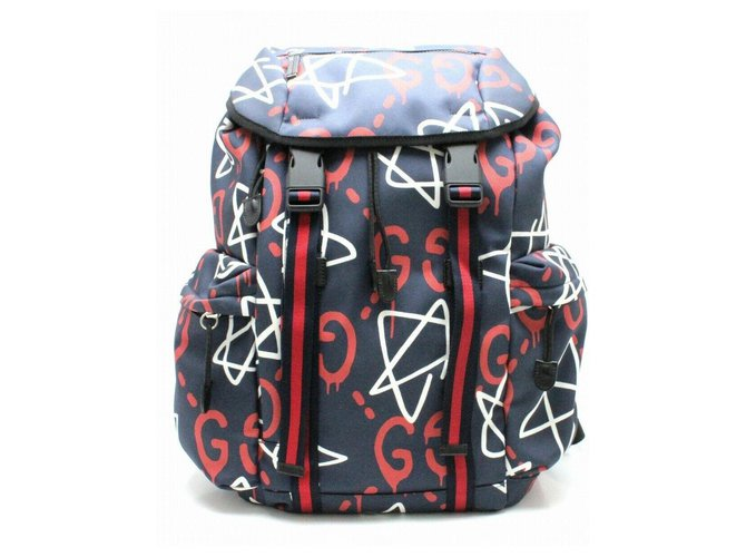 e3e63857c57880 Gucci GUCCI GHOST NEW BACKPACK Bags Briefcases Leather,Nylon Blue,Multiple  colors ref.