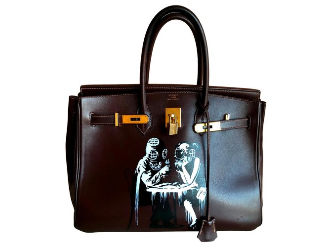 Hermès Birkin Handbags Leather Ebony ref.123737