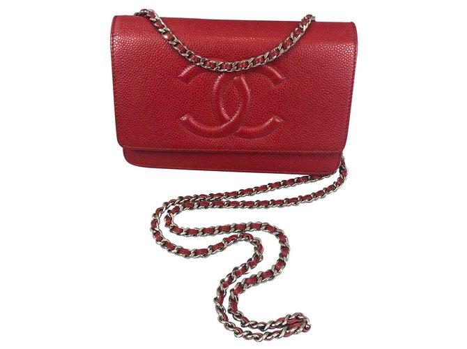 Sacs à main Chanel Woc Cuir Rouge ref.123809