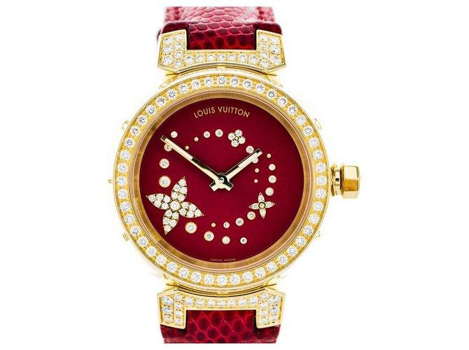 Montres Louis Vuitton Belles montres Autre Rouge ref.123824