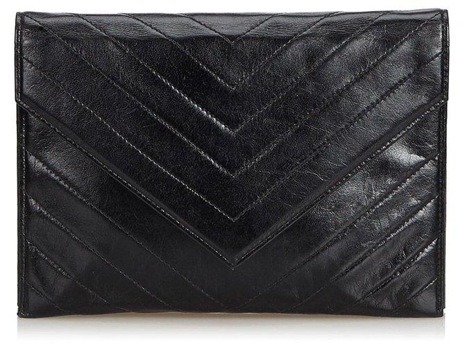 fca55f6ac6f Yves Saint Laurent YSL Black Leather Chevron Clutch Bag Clutch bags Leather,Other  Black ref