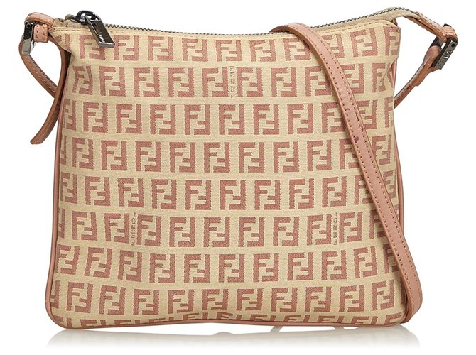 c2ed9c937 Fendi Fendi Pink Zucchino Canvas Crossbody Bag Handbags  Leather,Other,Cloth,Cloth Pink