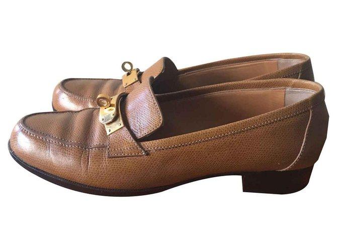 Hermès Flats Flats Leather Cognac ref.124039
