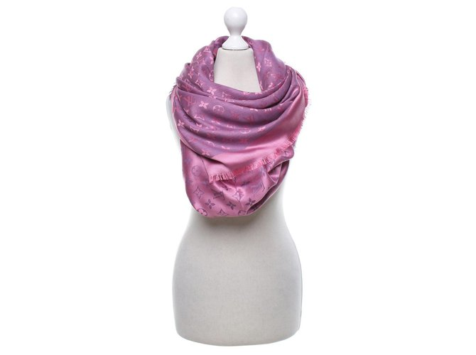 Foulards Louis Vuitton FOULARD STOLE LOUIS VUITTTON Soie Rose ref.124053
