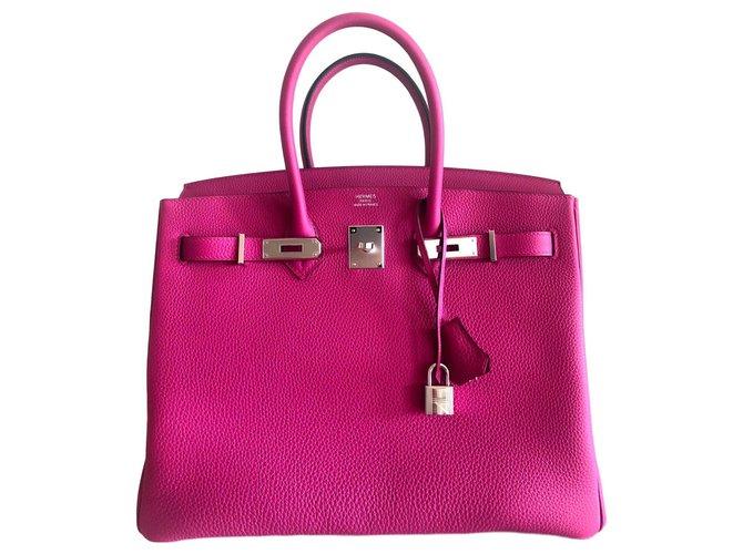 Hermès HERMES BIRKIN 35 Purple Rose Handbags Leather Pink ref.124131