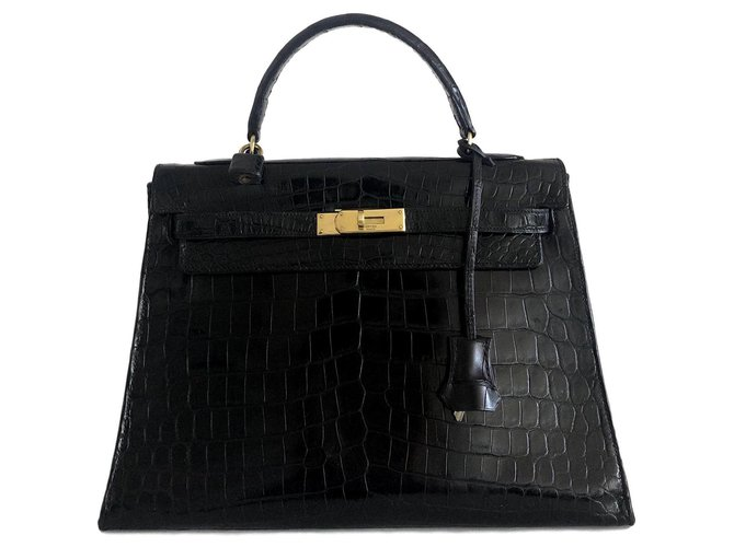 Sacs à main Hermès Hermes Kelly 32 Crocodile noir Cuirs exotiques Noir ref.124132