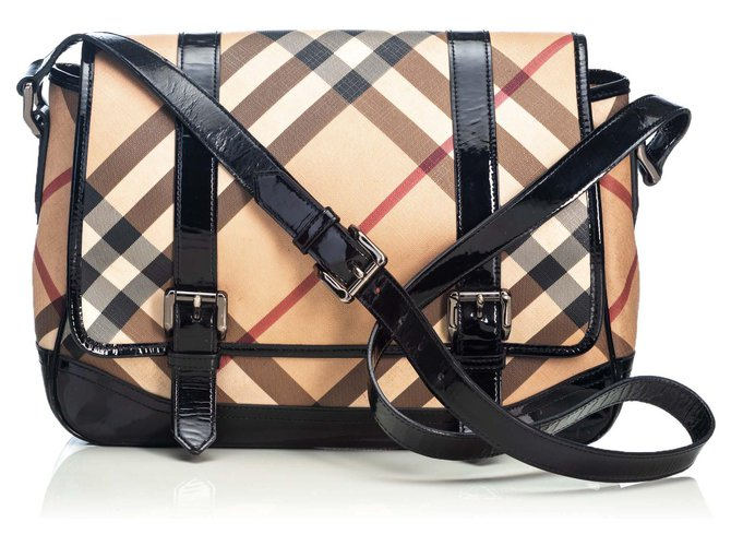 cbd2ef9e9200 Burberry Burberry Brown Nova Check Coated Canvas Newton Messenger Bag  Handbags Leather