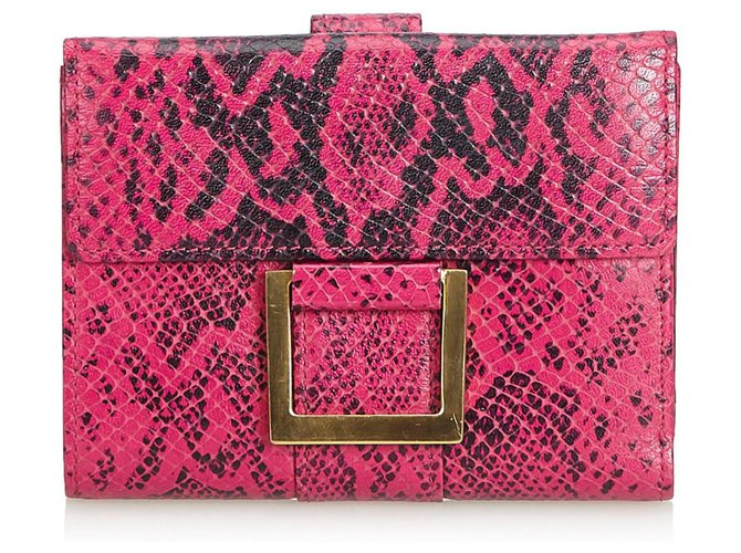 Yves Saint Laurent YSL Pink Python Print Leather Wallet Misc Leather,Other Black,Pink ref.124199