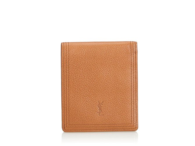 Yves Saint Laurent YSL Brown Leather Wallet Misc Leather,Other Brown,Light brown ref.124205
