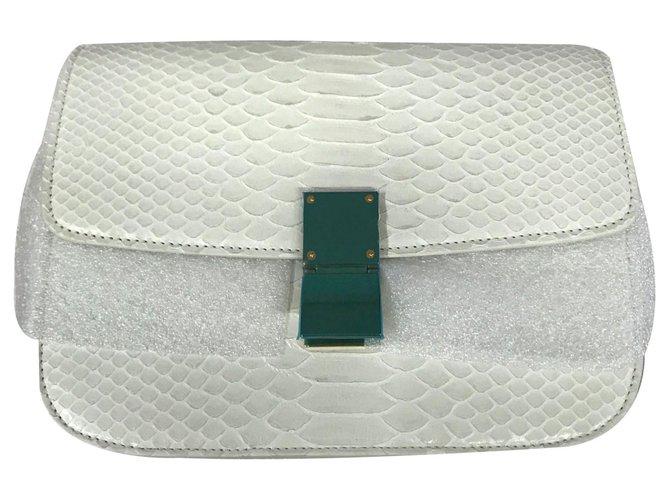Céline CELINE CLASSIC BOX MEDIUM PYTHON BAG CROSSBODY BAG Handbags Python White ref.124272