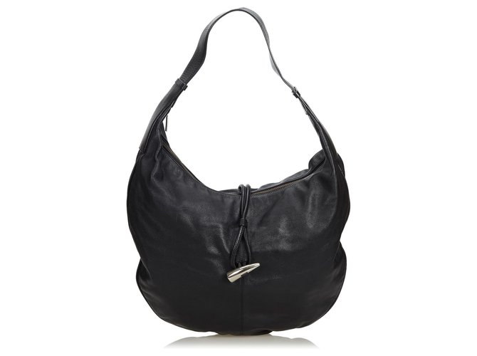 abc0f38141f3 Burberry Burberry Black Leather Hobo Bag Handbags Leather