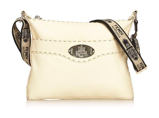 8769c87a37 Fendi Fendi White Leather Selleria Crossbody Bag Handbags Leather,Other  White,Cream ref.