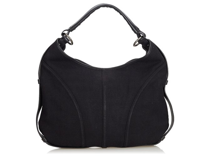 1df7bbd5539 Yves Saint Laurent YSL Black Canvas Shoulder Bag Handbags Leather,Other, Cloth,Cloth