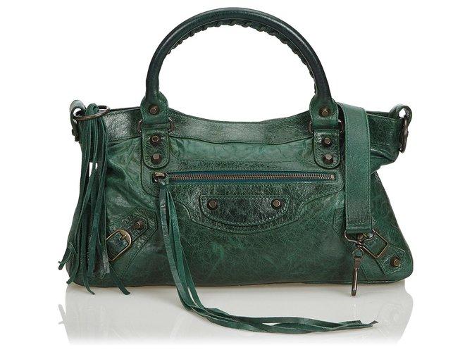 shopping special for shoe big discount Balenciaga Balenciaga Green Motocross Leather City Bag ...