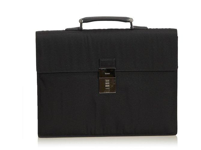 Gucci Gucci Black Nylon Briefcase Misc Leather,Other,Nylon,Cloth Black ref.124394