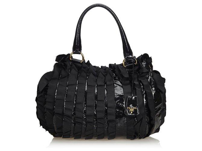 53fee14881ec Prada Prada Black Ruffled Patent Leather Handbag Handbags Leather,Patent  leather,Nylon,Cloth