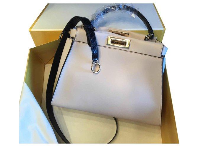 c5777a17c903 Fendi PEEKABOO REGULAR Handbags Leather Eggshell ref.124456 - Joli ...