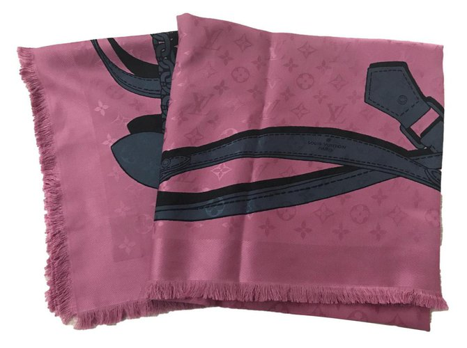 Foulards Louis Vuitton LOUIS VUITTON FOULARD STOLA SILK WOOL SCARF Soie,Laine Rose ref.124491