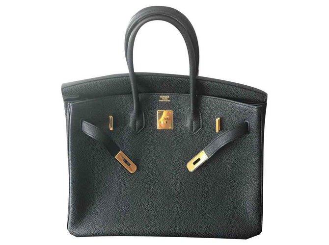 Sacs à main Hermès Birkin 35 Cuir Noir ref.124496