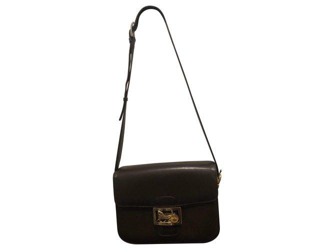 Céline Shoulder bag Handbags Leather Dark brown ref.124507