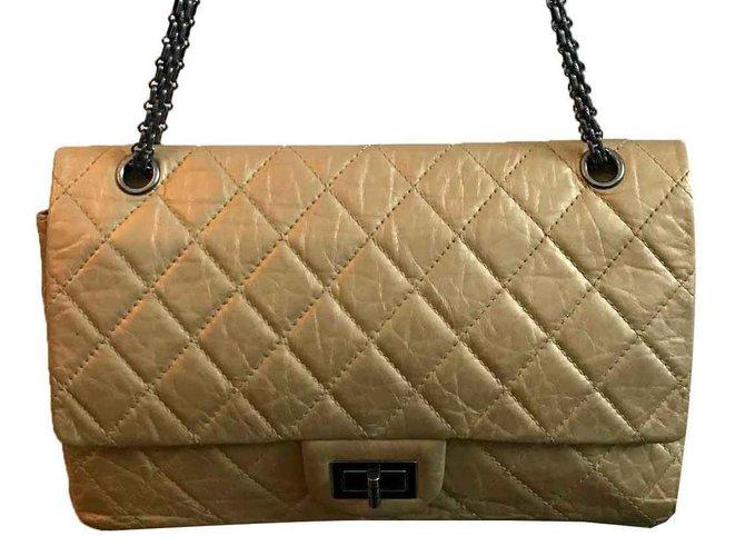 Chanel 2 55 Handbags Leather Golden ref.124628