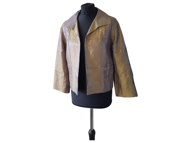 Chanel Jackets Jackets Silk,Linen,Polyamide Green ref.124671