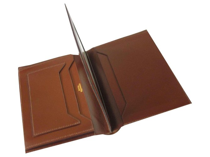 Hermès Wallet card holder Wallets Small accessories Leather Cognac ref.124753