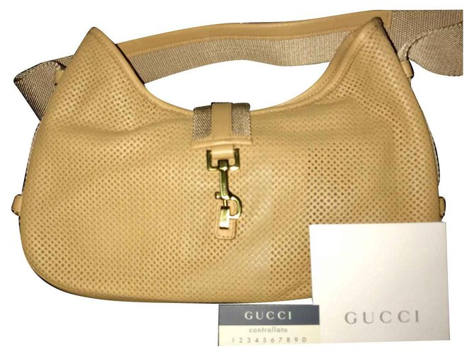 f8f51cf55 Gucci Gucci Jackie Shoulder bag in perforated leather Handbags Leather Beige  ref.124823