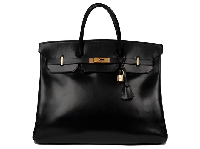 Hermès Exceptional Hermès Birkin 40 black box leather, gold plated hardware, in excellent vintage condition! Handbags Leather Black ref.124833