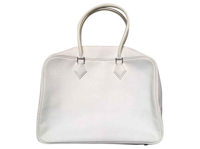 Hermès Plume Handbags Leather White ref.124868
