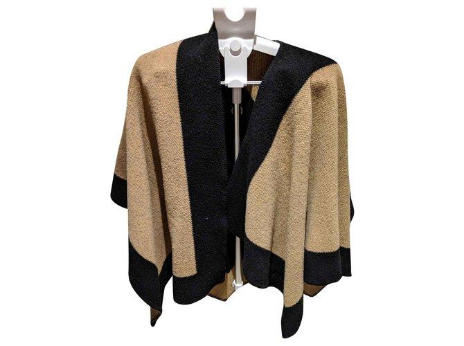 Burberry Burberry poncho Knitwear Cashmere,Wool Black,Caramel ref.124930