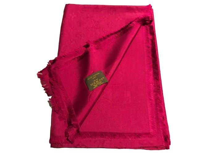 Foulards Louis Vuitton LOUIS VUITTON FOULARD STOLA NEW FUXIA PINK 100% SOIE SILK SCARF Soie Rose ref.124983