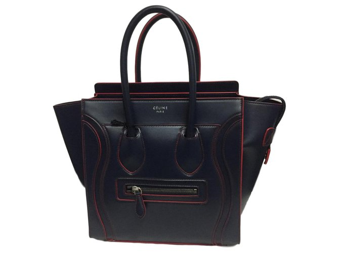 Céline CELINE MICRO LUGGAGE NEW BLUE Handbags Leather Red,Blue ref.124987