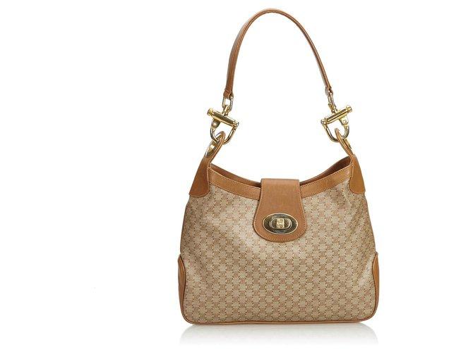 Céline Celine Brown Macadam Shoulder Bag Handbags Leather,Other,Plastic Brown ref.125061
