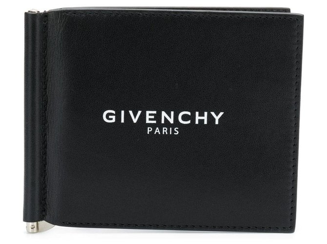 Givenchy Givenchy Black Leather Bifold Clip Wallet Misc Leather,Pony-style calfskin Black ref.125083